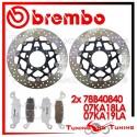 Dischi E Pastiglie Freno Anteriore Brembo KAWASAKI ER6N 650 2006 2007 78B40840 + 07KA18LA + 07KA19LA